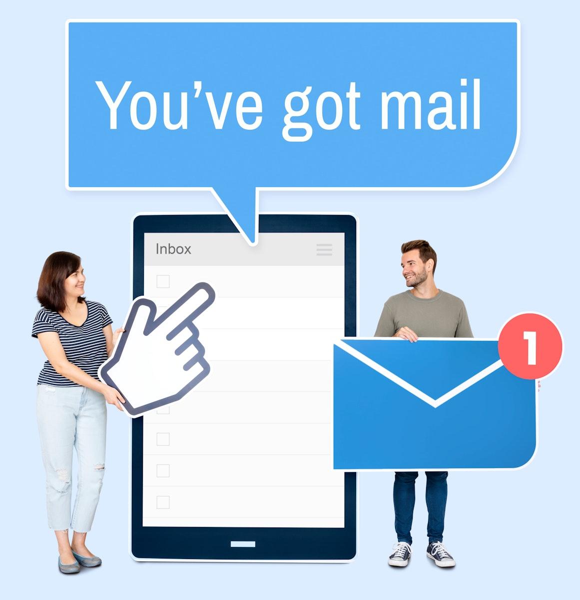 People sending an e-mail via a tablet