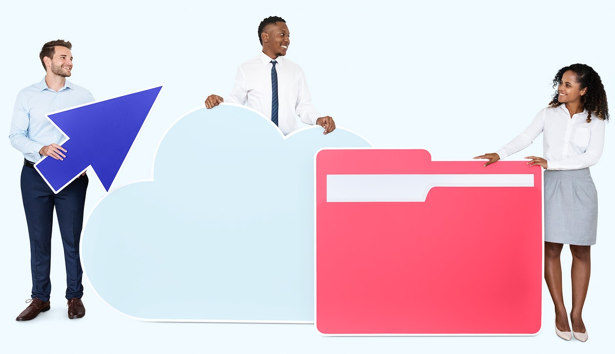 Businesspeople with cloud storage icons