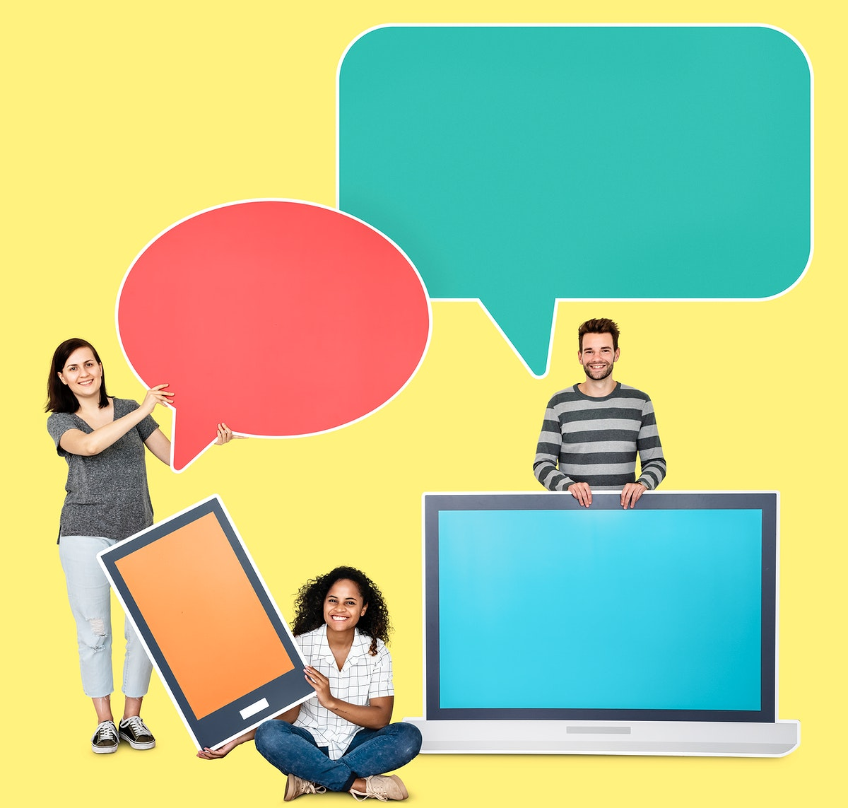 People with speech bubbles and digital device icons