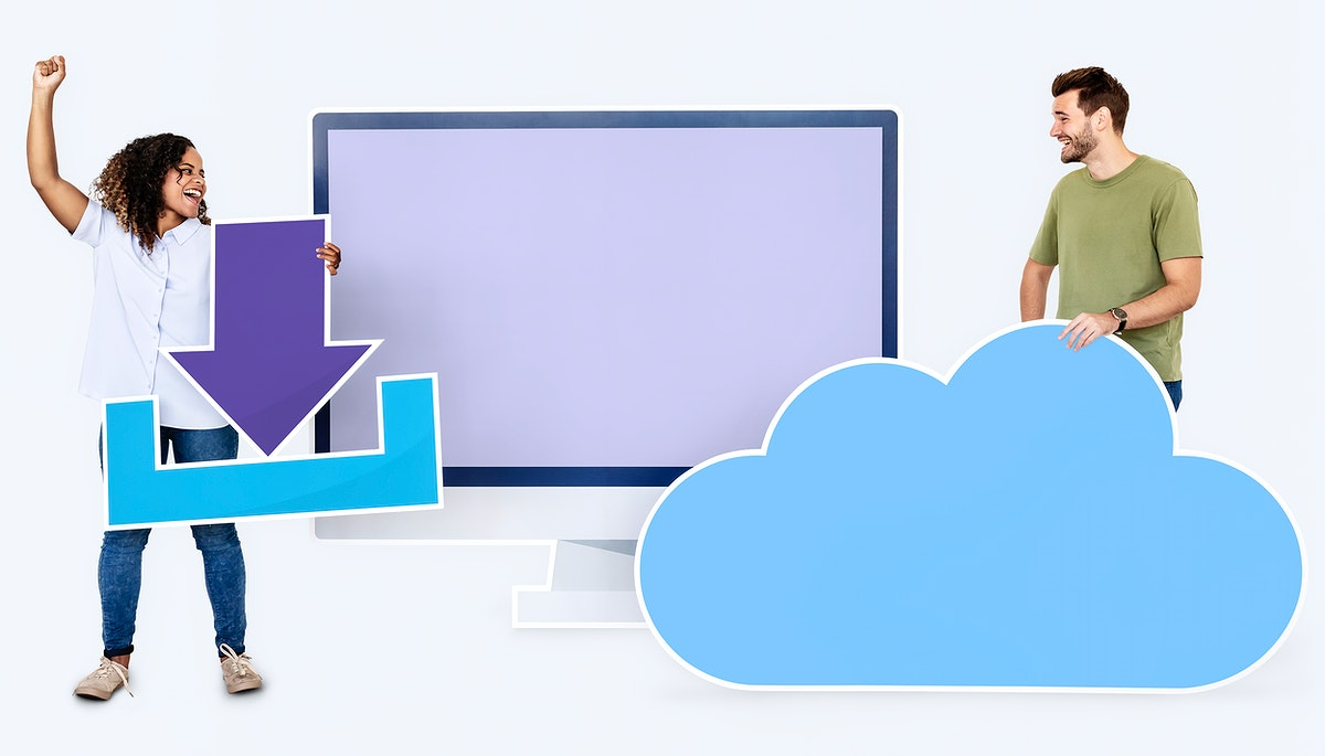 People with icons related to cloud technology