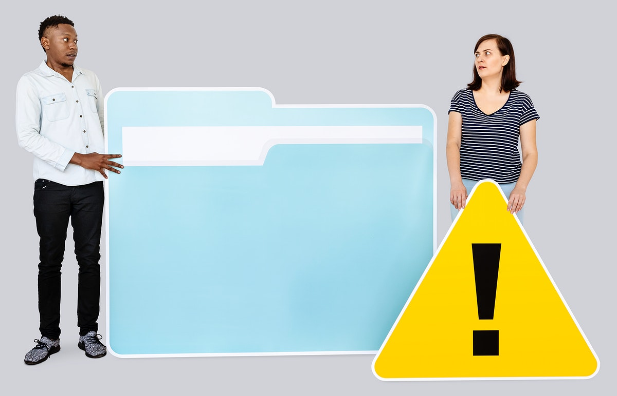 People with folder and warning sign icon illustration