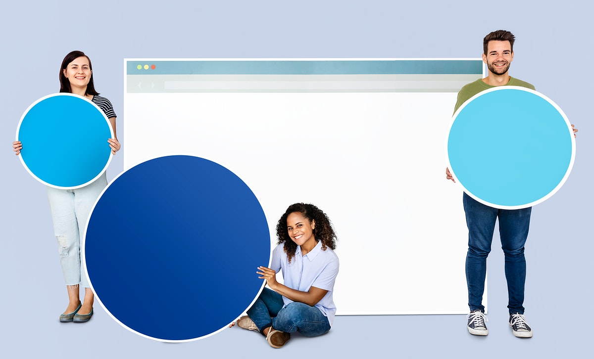 People holding icons related to the theme of internet and connection