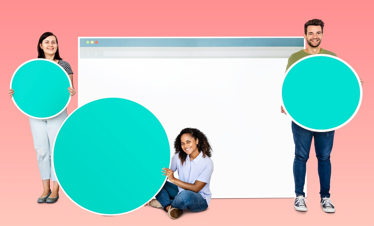 People holding copy spaces and internet webpage icon