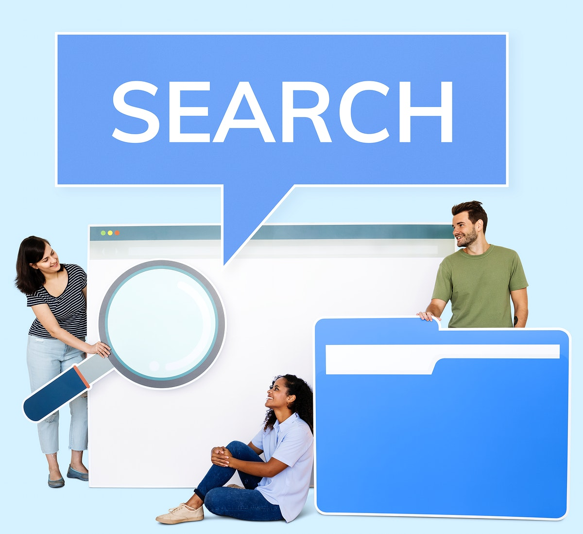 People holding search engine and file browsing icons