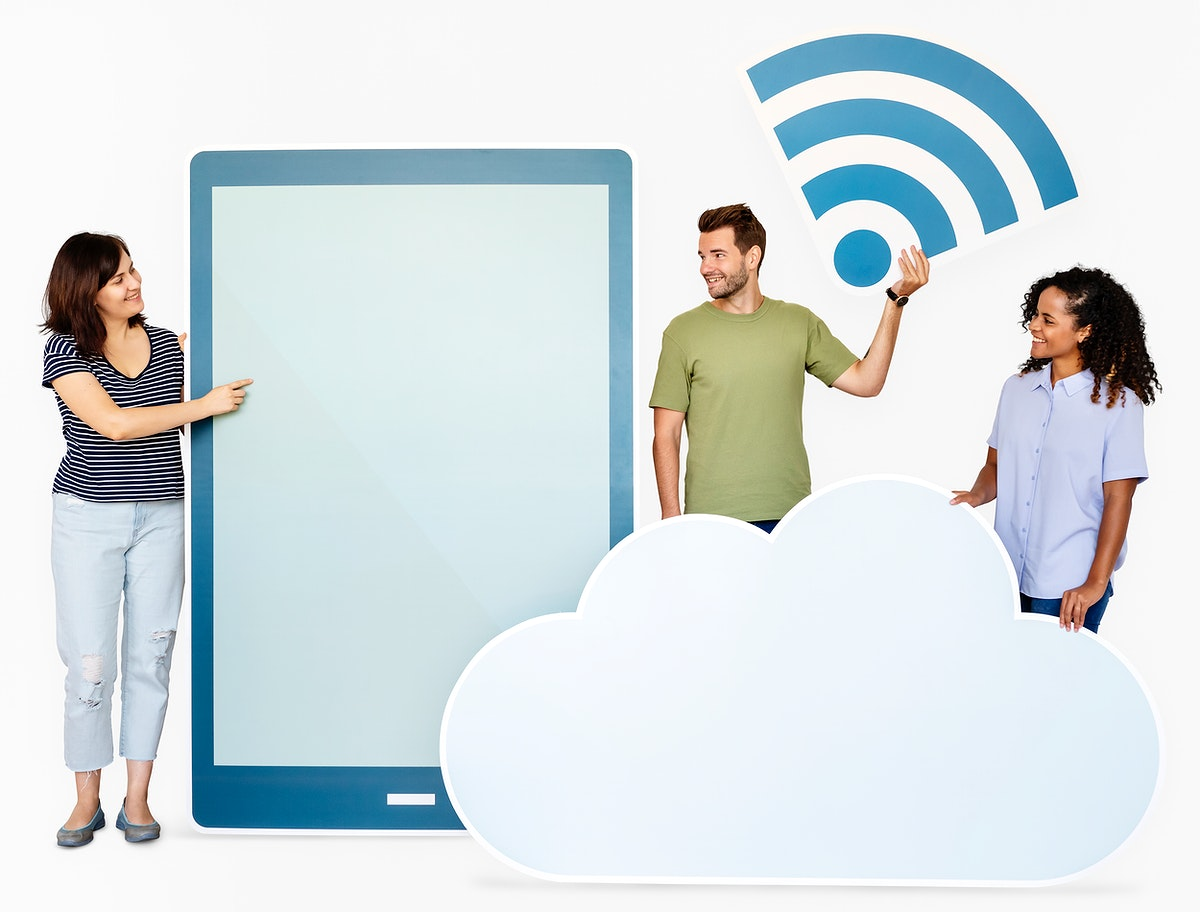 People holding different icons in wireless and cloud technology theme