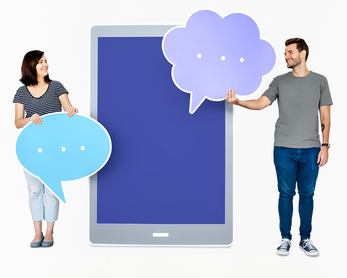 People holding speech bubble icons