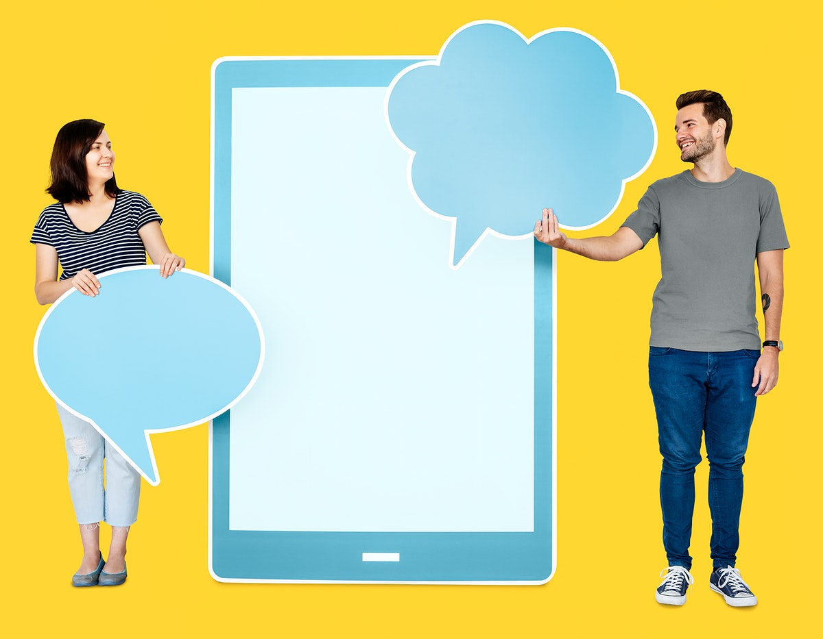 Couple holding speech bubbles and a digital tablet icon