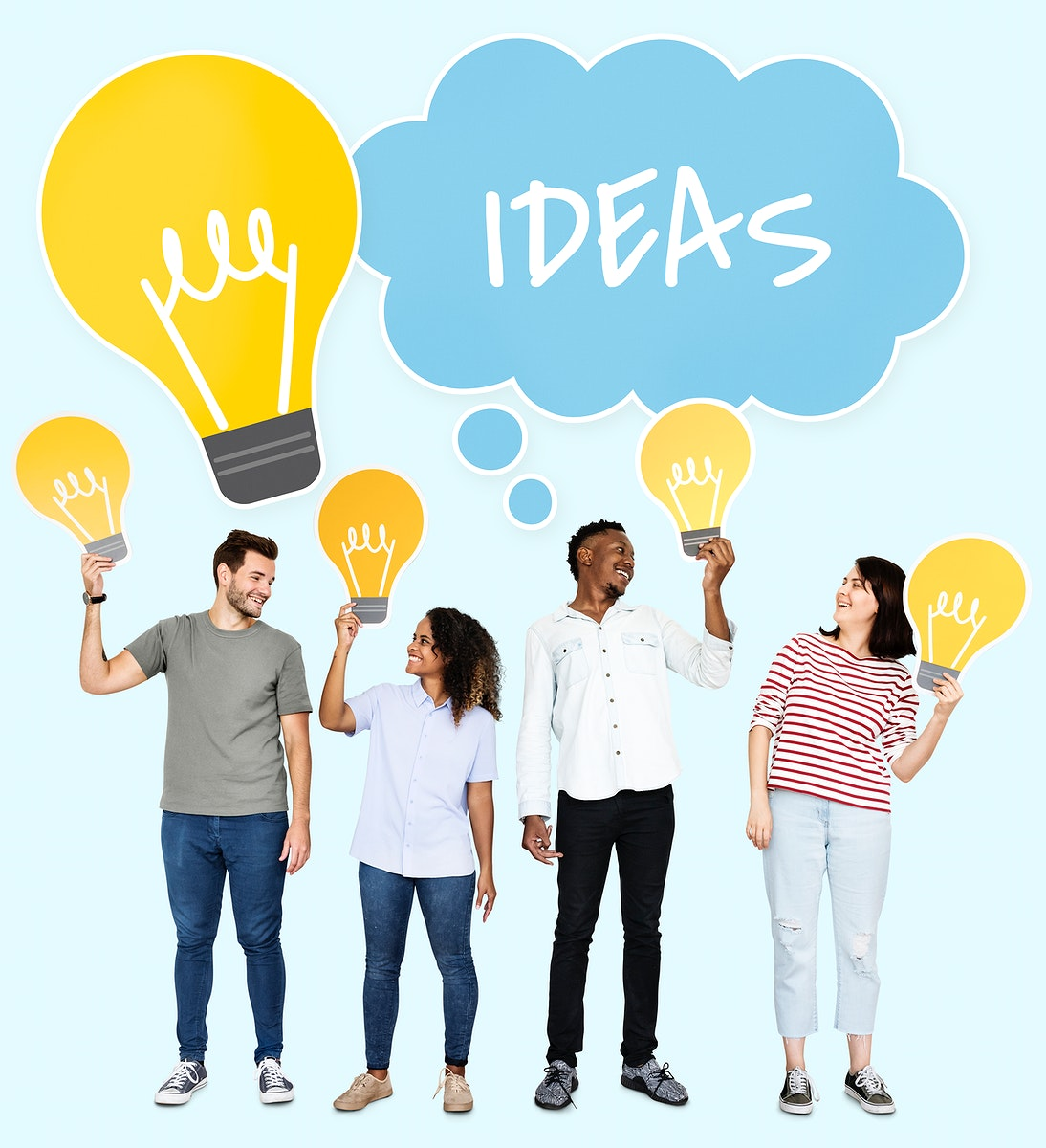 People holding a innovative idea concept icons