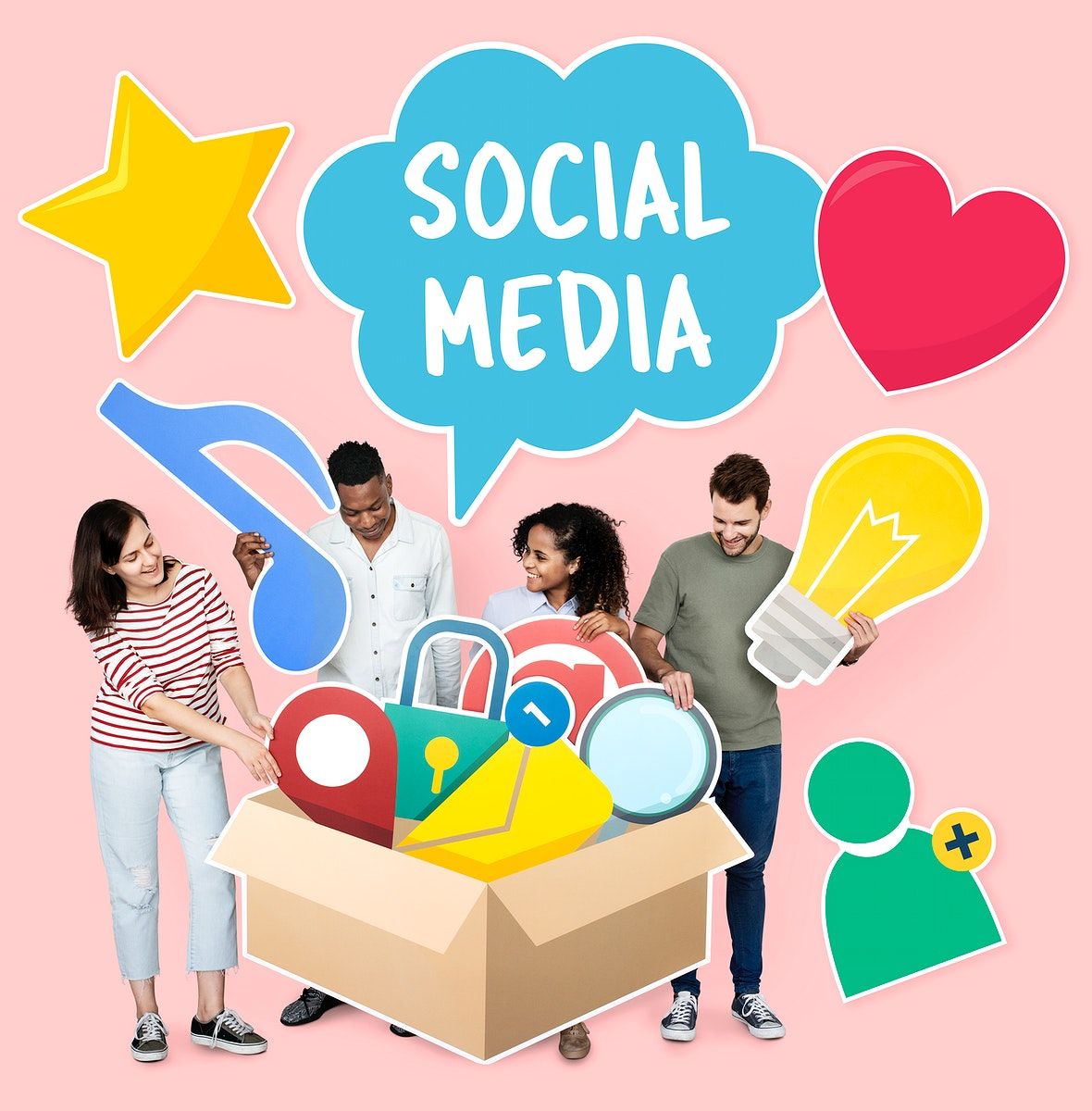 People with social media icons in the box