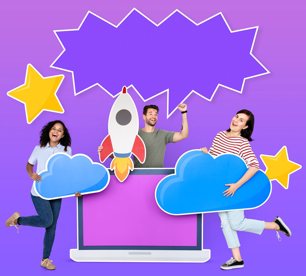People holding cloud computing icons and a copy space