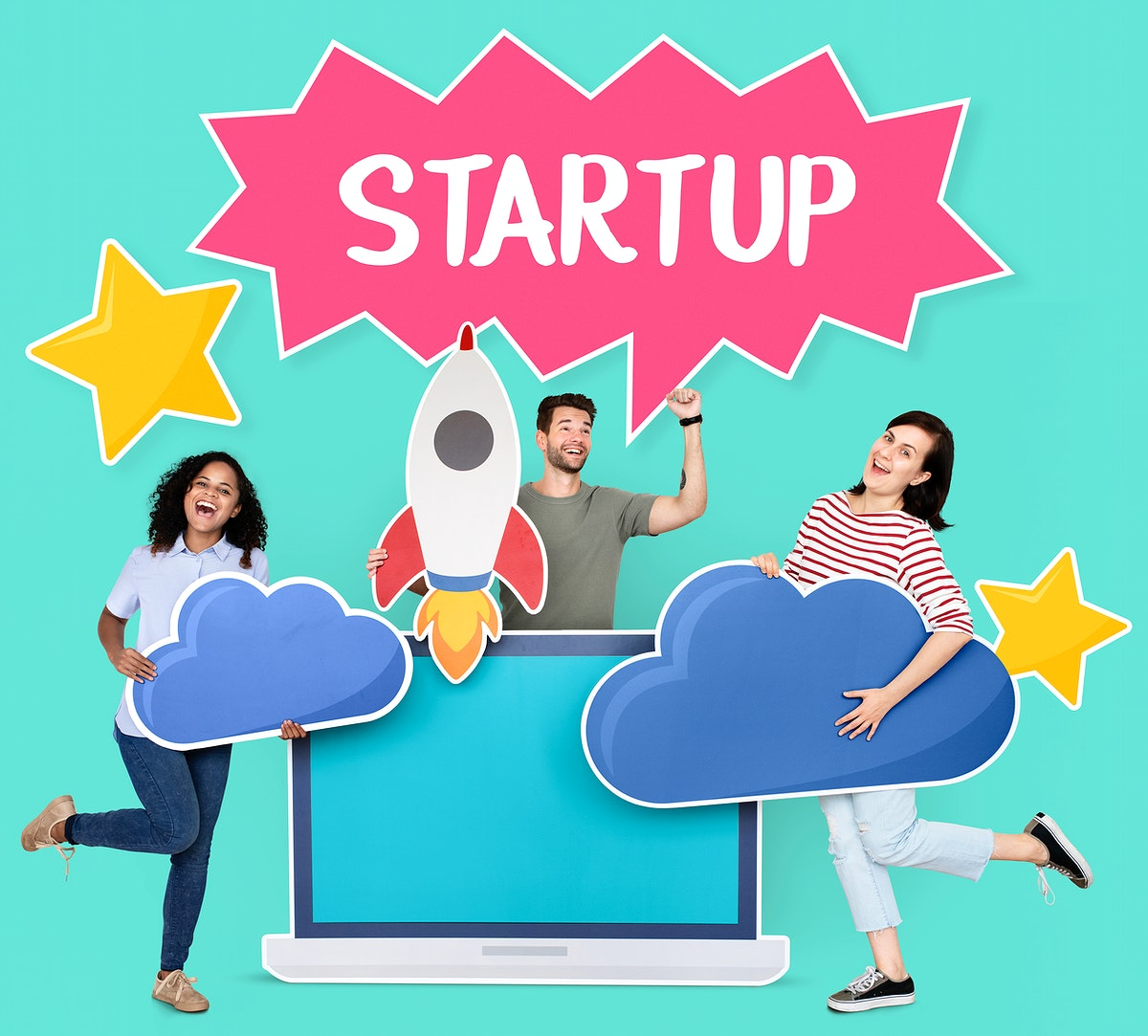 Cloud computing and start up business concept shoot
