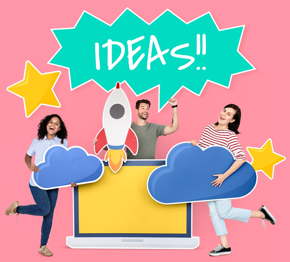 People holding creative ideas and cloud computing icons