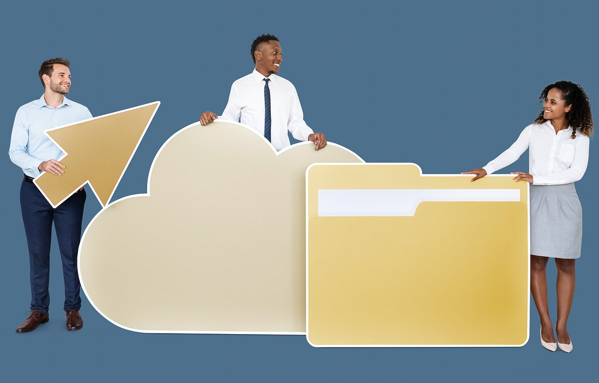 Business people and cloud computing icons