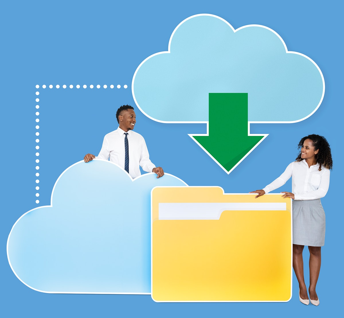 Business people downloading data from a cloud icon