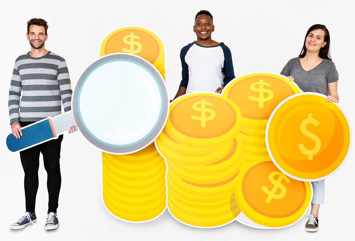 People holding icons related to money and currency concept