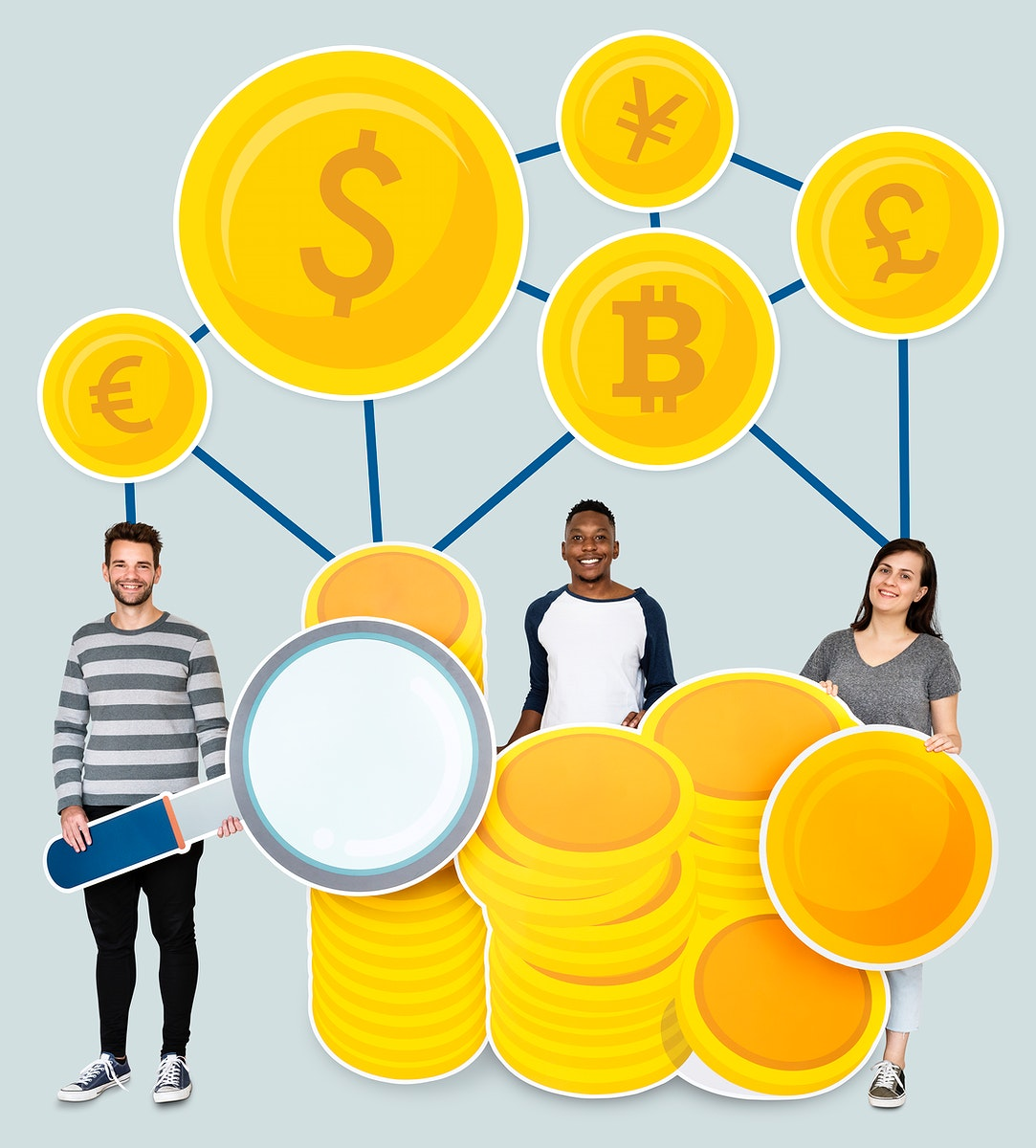 People with coin currency cardboard cutouts