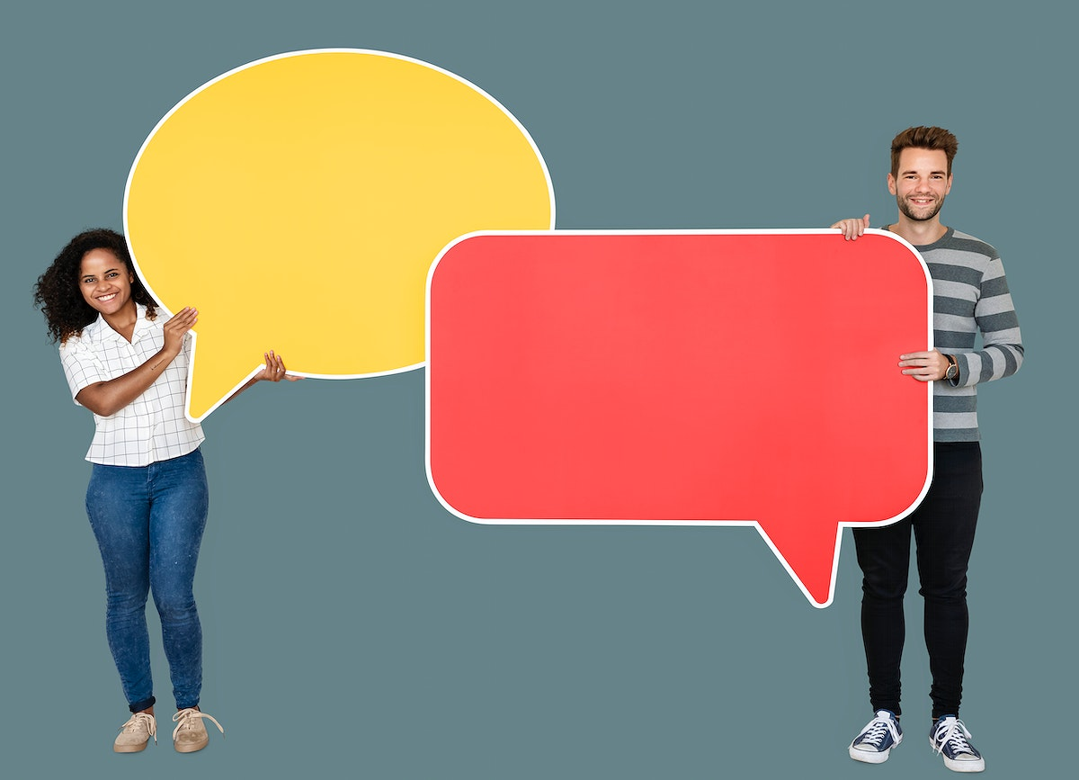Man and woman holding speech bubble icons