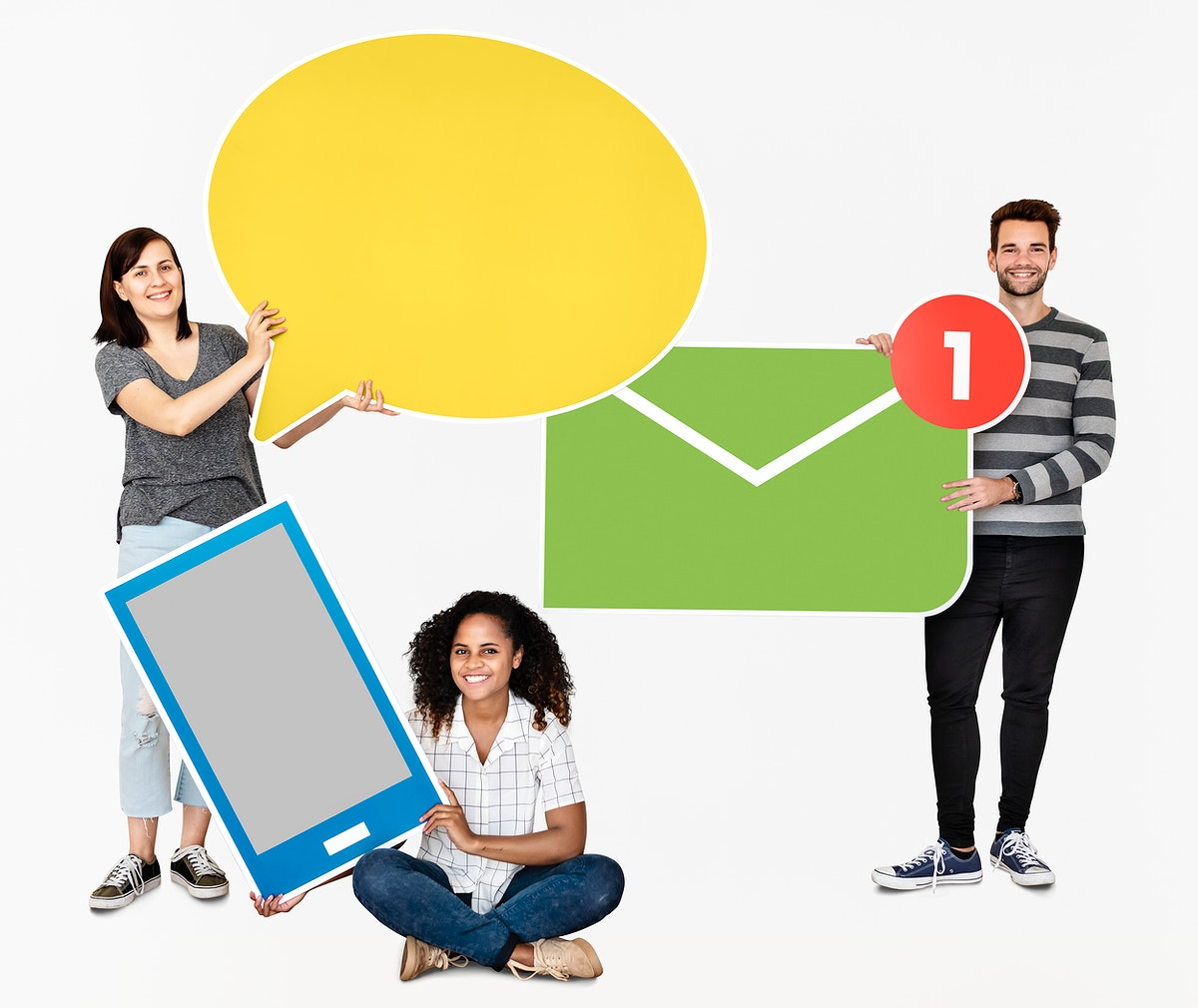 People holding different types of communication icons