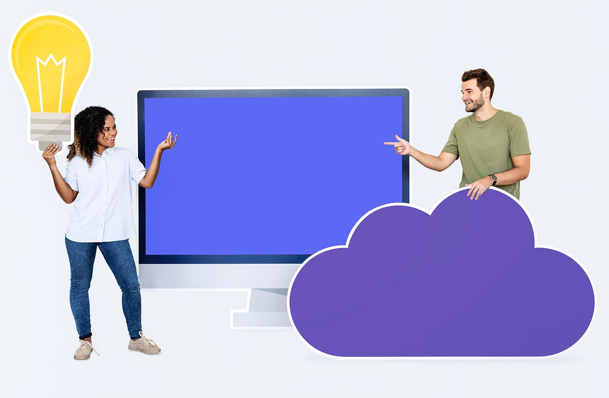 People with icons related to cloud technology and internet