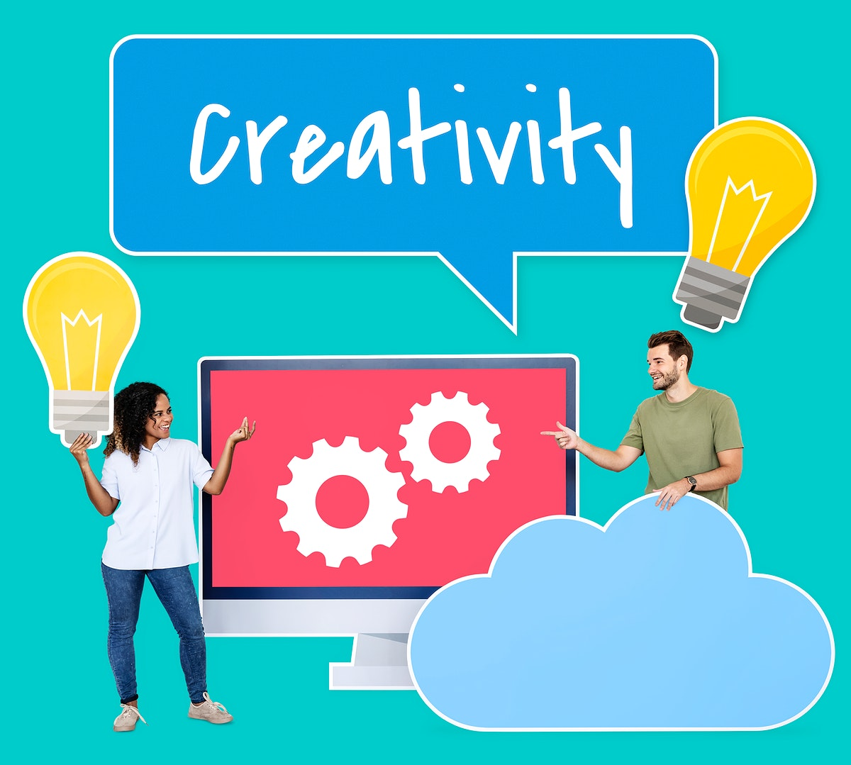 People holding creativity and ideas icons