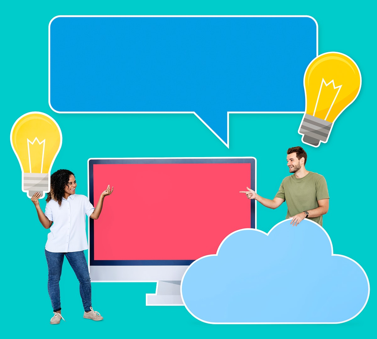 People with cloud computing technology icons