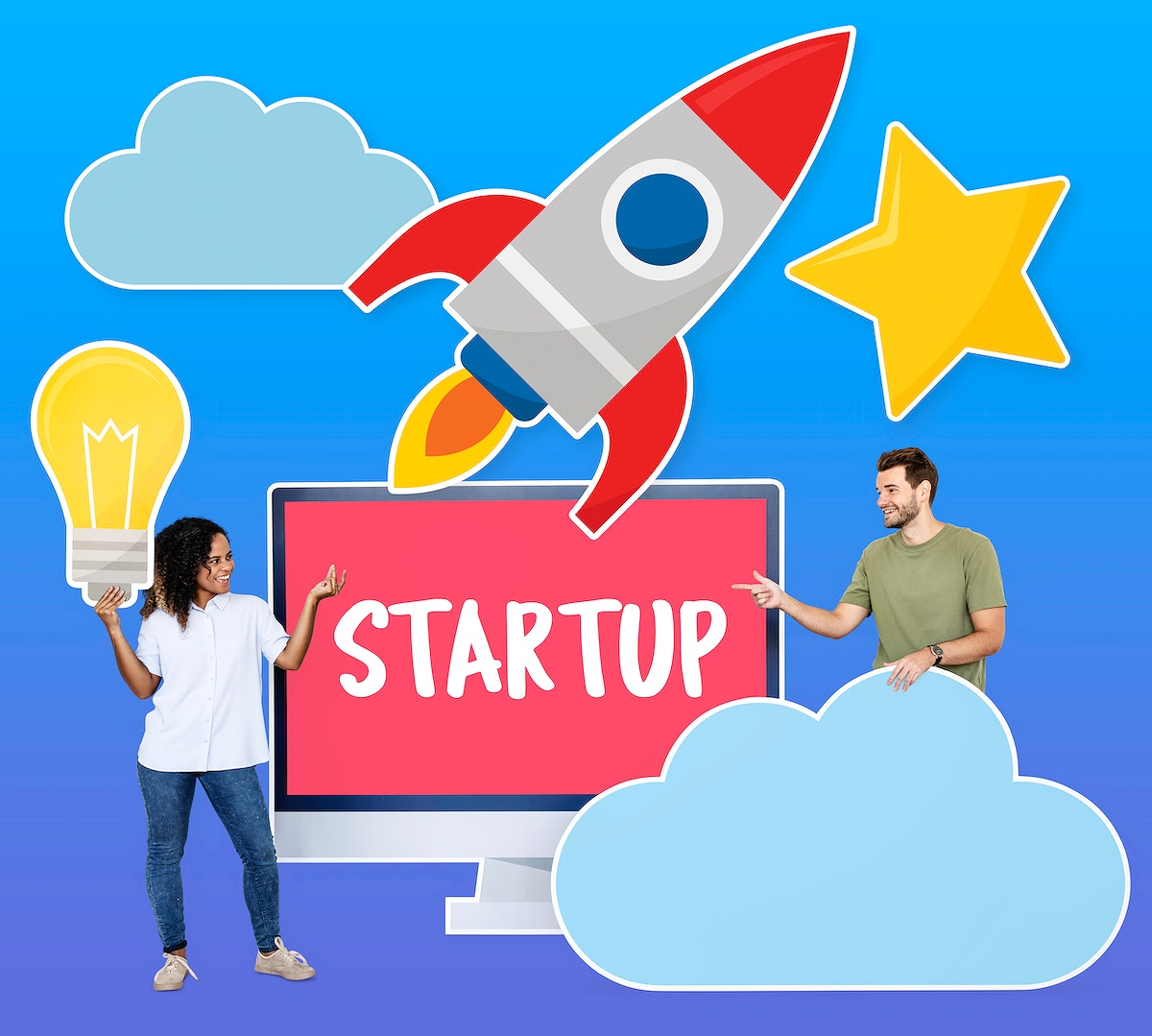 People with creativity and start up business concept icons