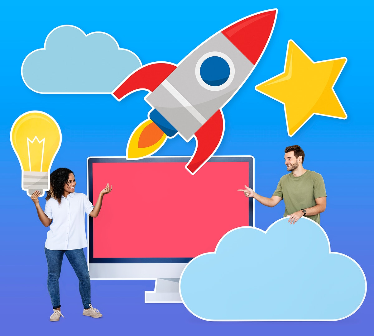 People holding cloud computing and ideas icons