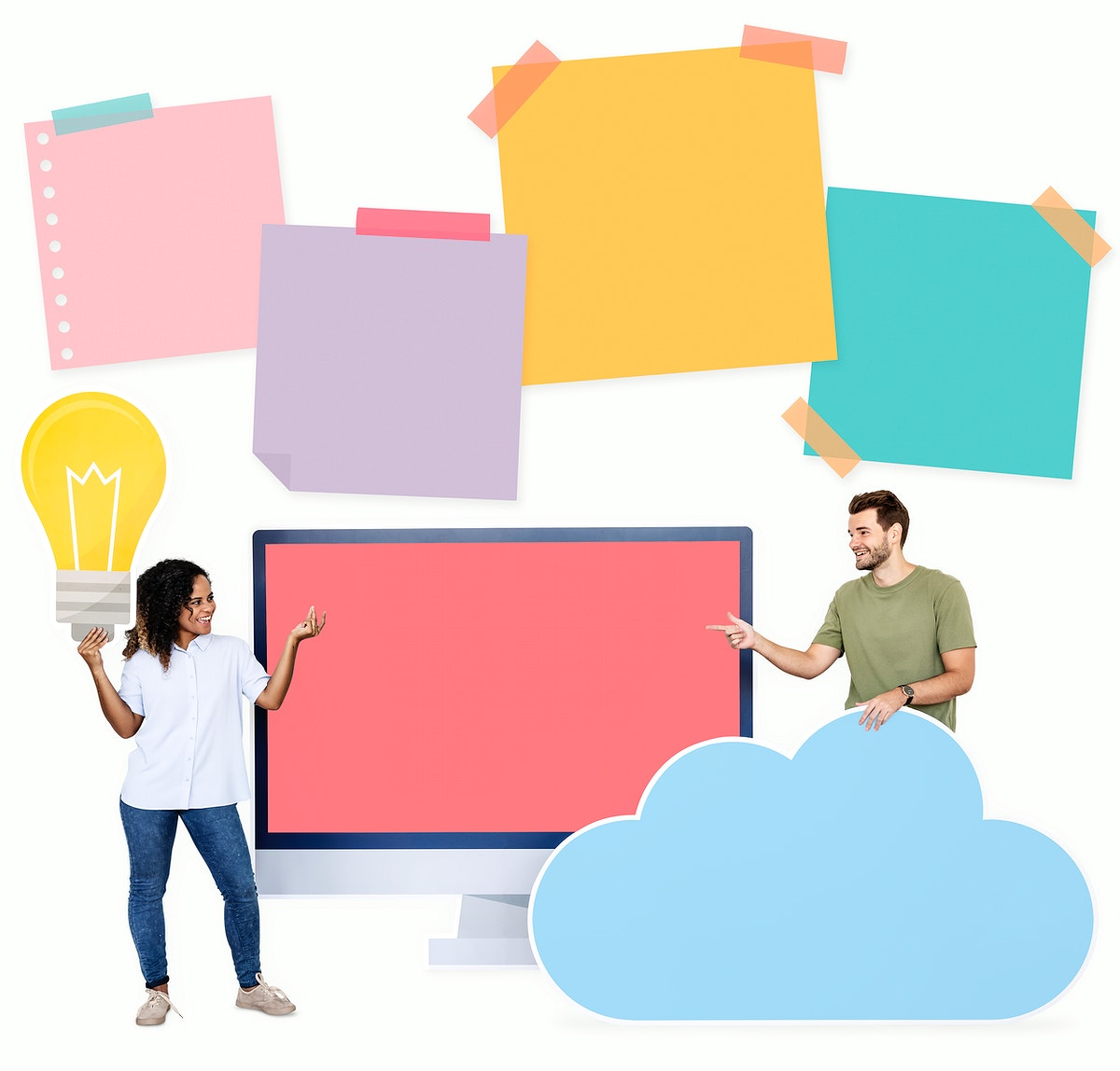 People holding ideas and cloud computing icons