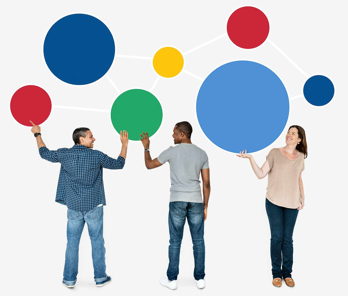 Group of people holding colorful round boards