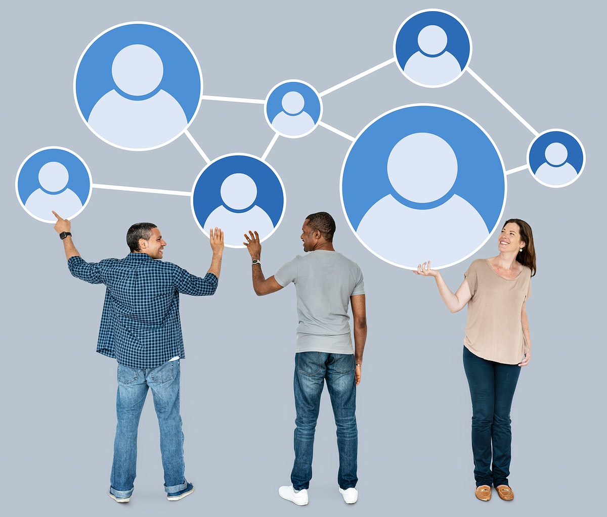 Diverse people holding networking icon