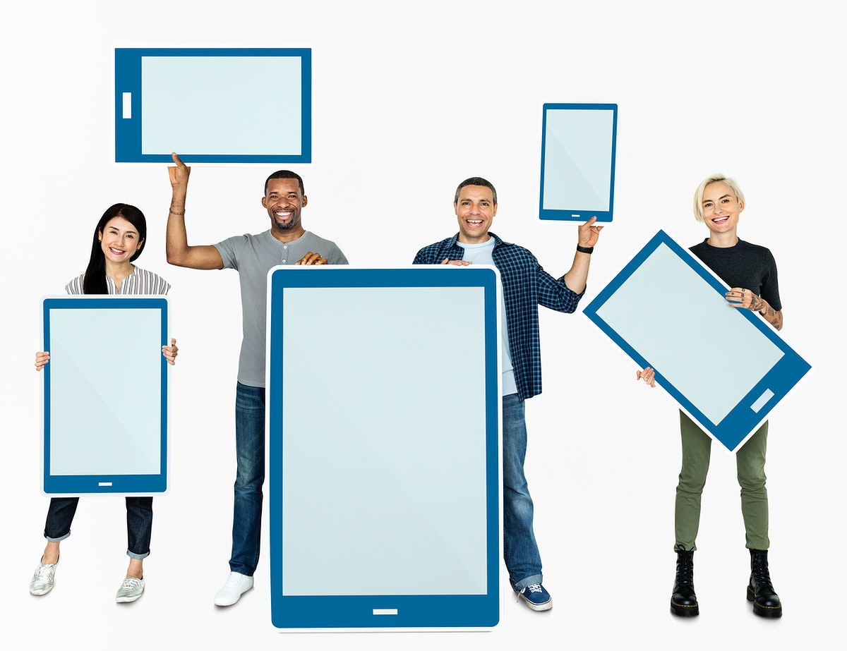 Diverse people holding tablet icons