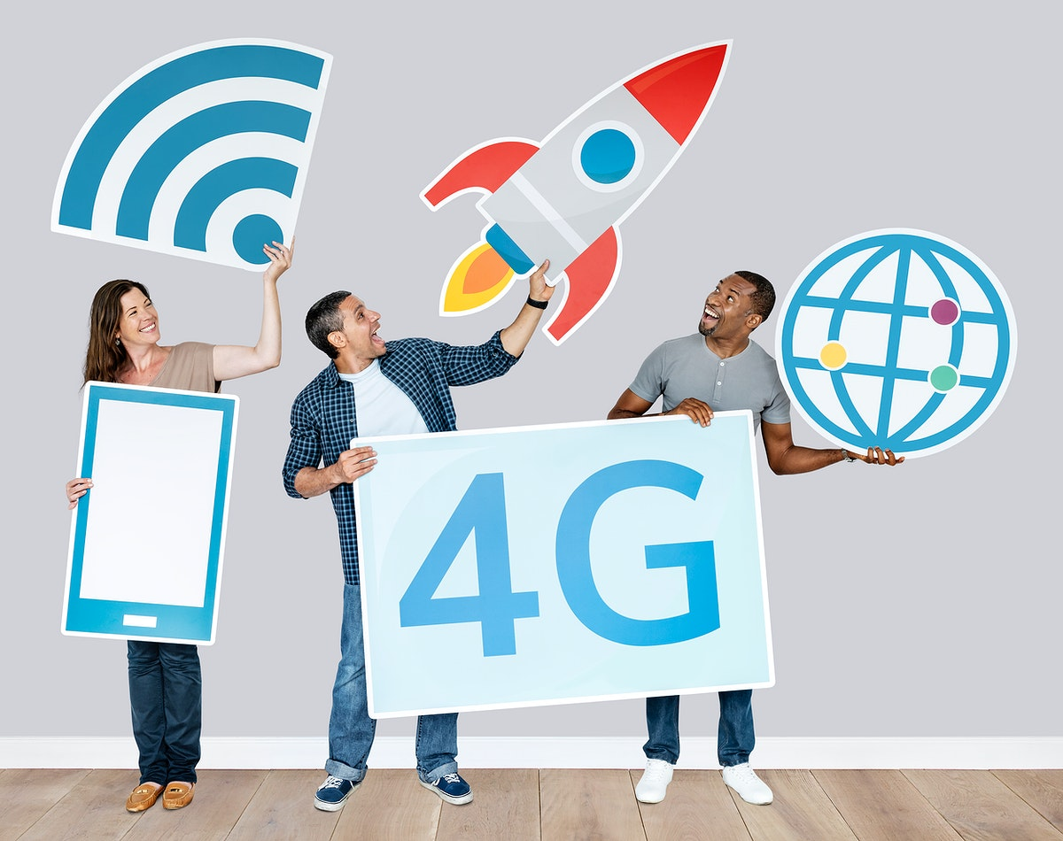 Group of people holding 4G technological icons