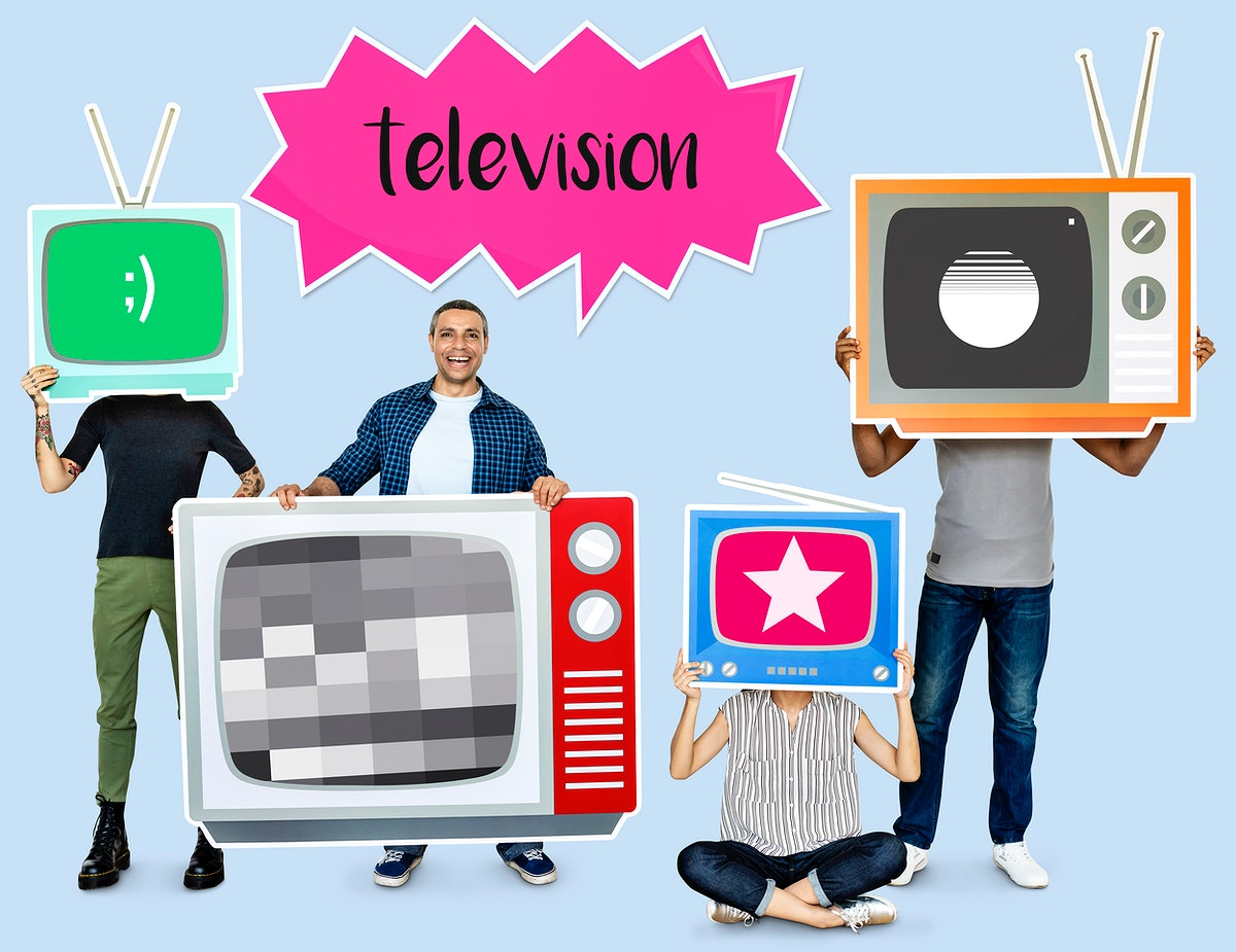Happy people holding TV icons
