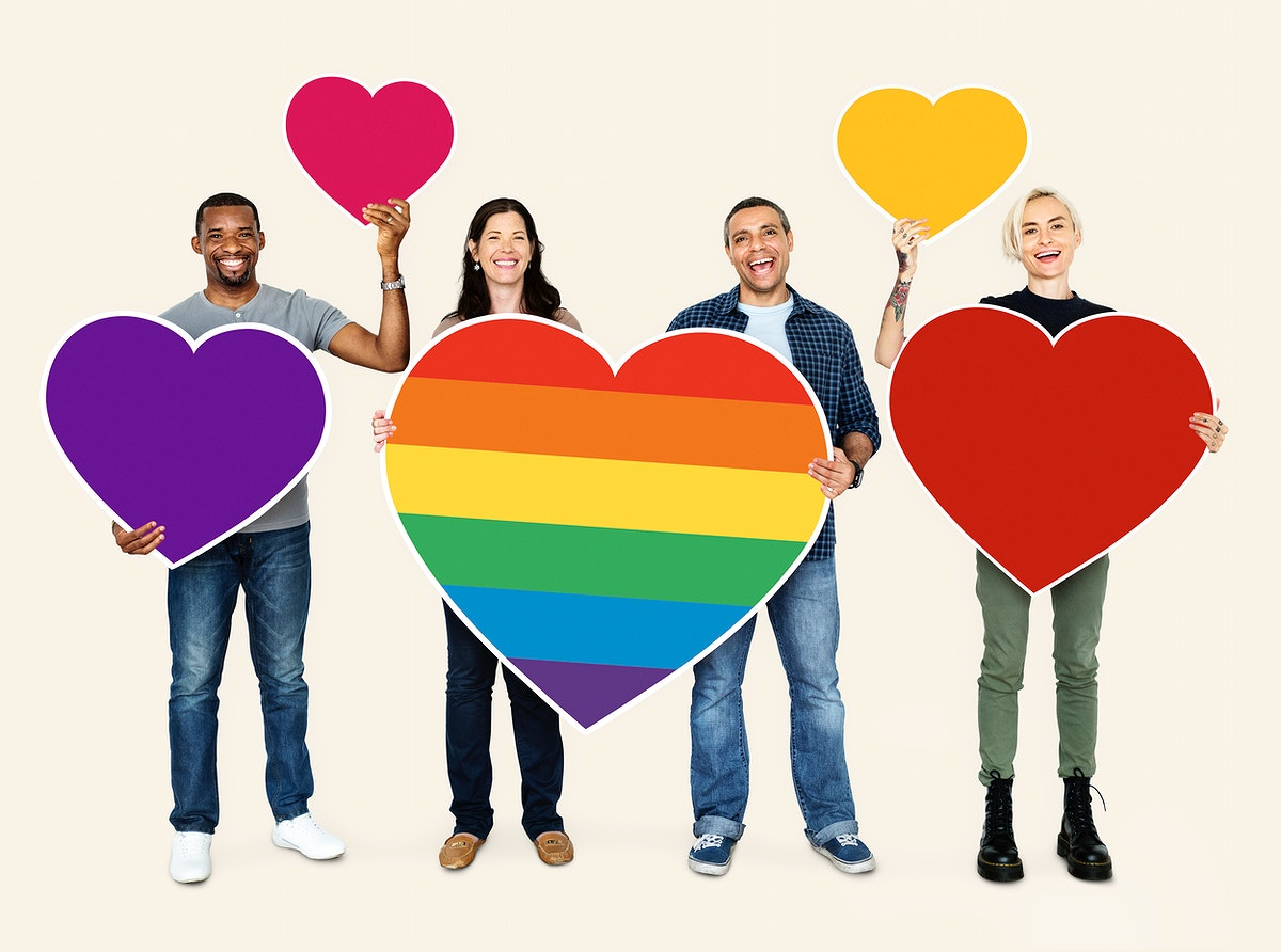 Group of people holding colorful hearts