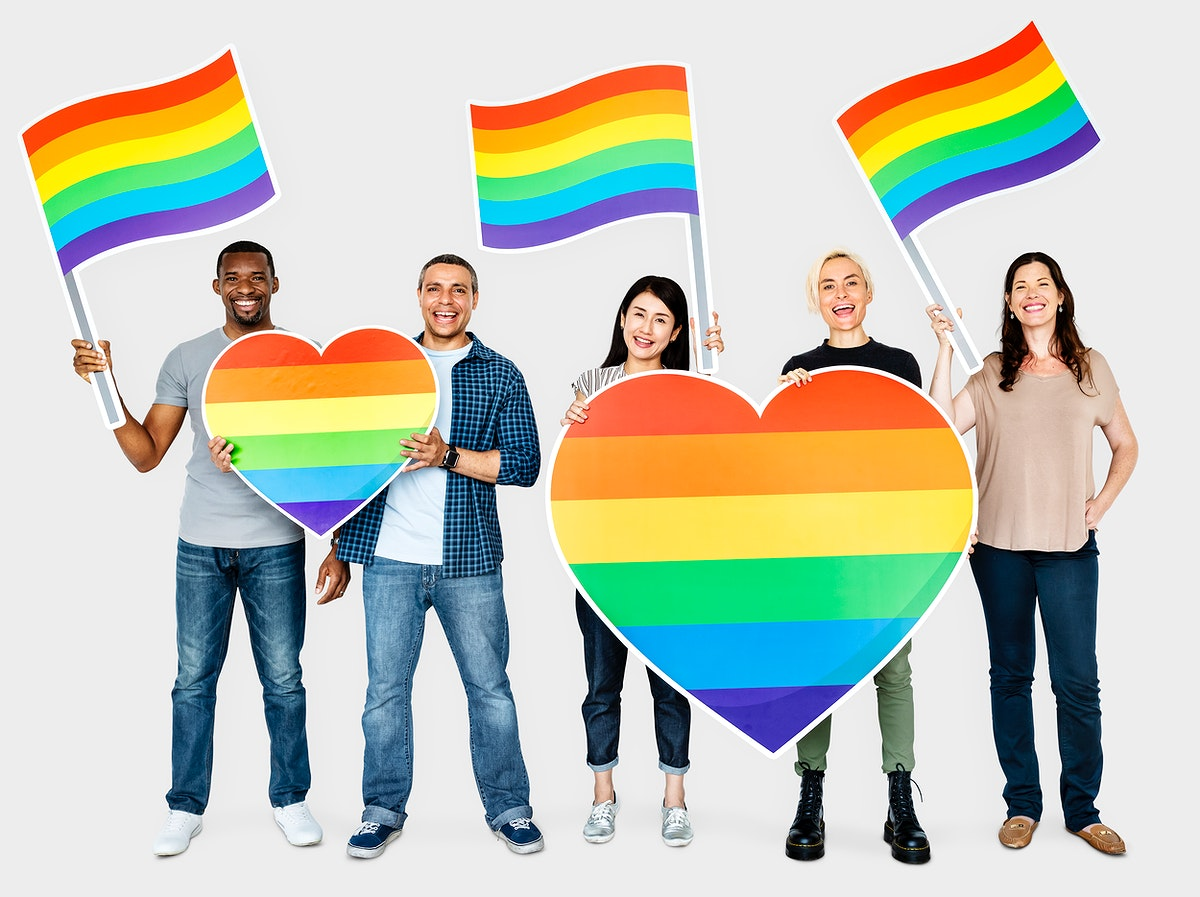 Happy diverse people holding lgbt hearts