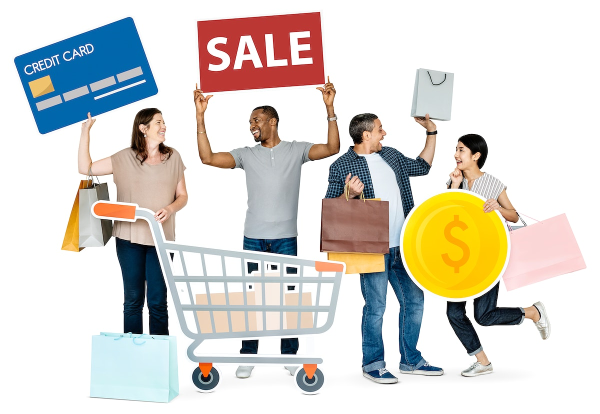 Happy people holding shopping icons