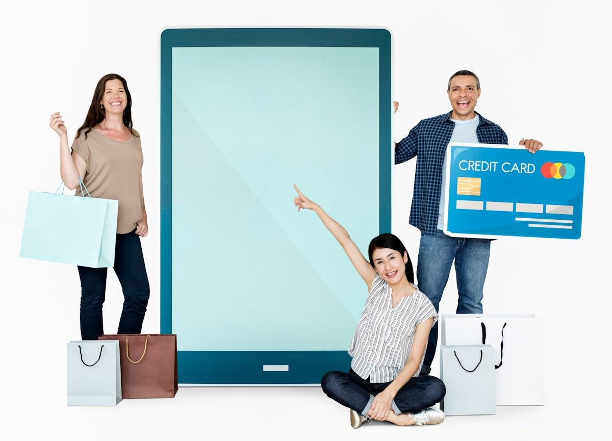 Happy people enjoying online shopping