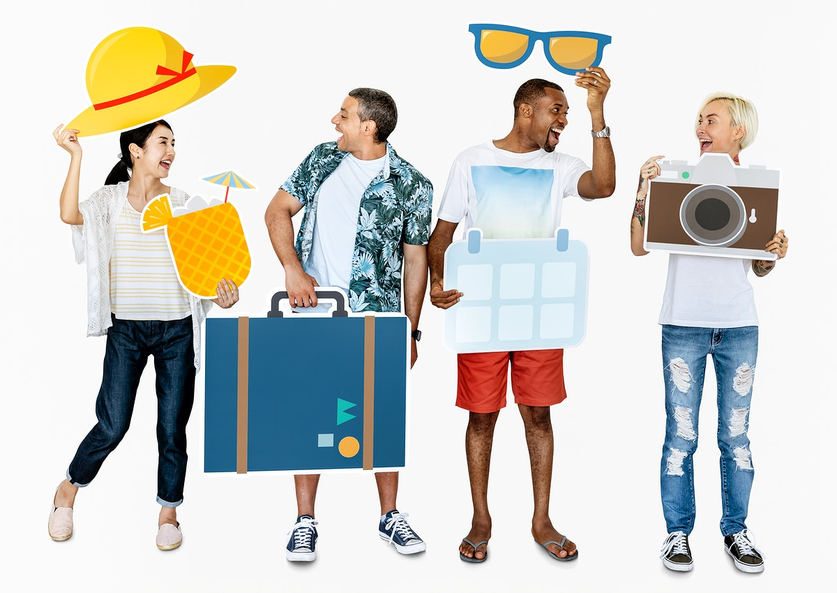 Happy diverse people holding travel icons