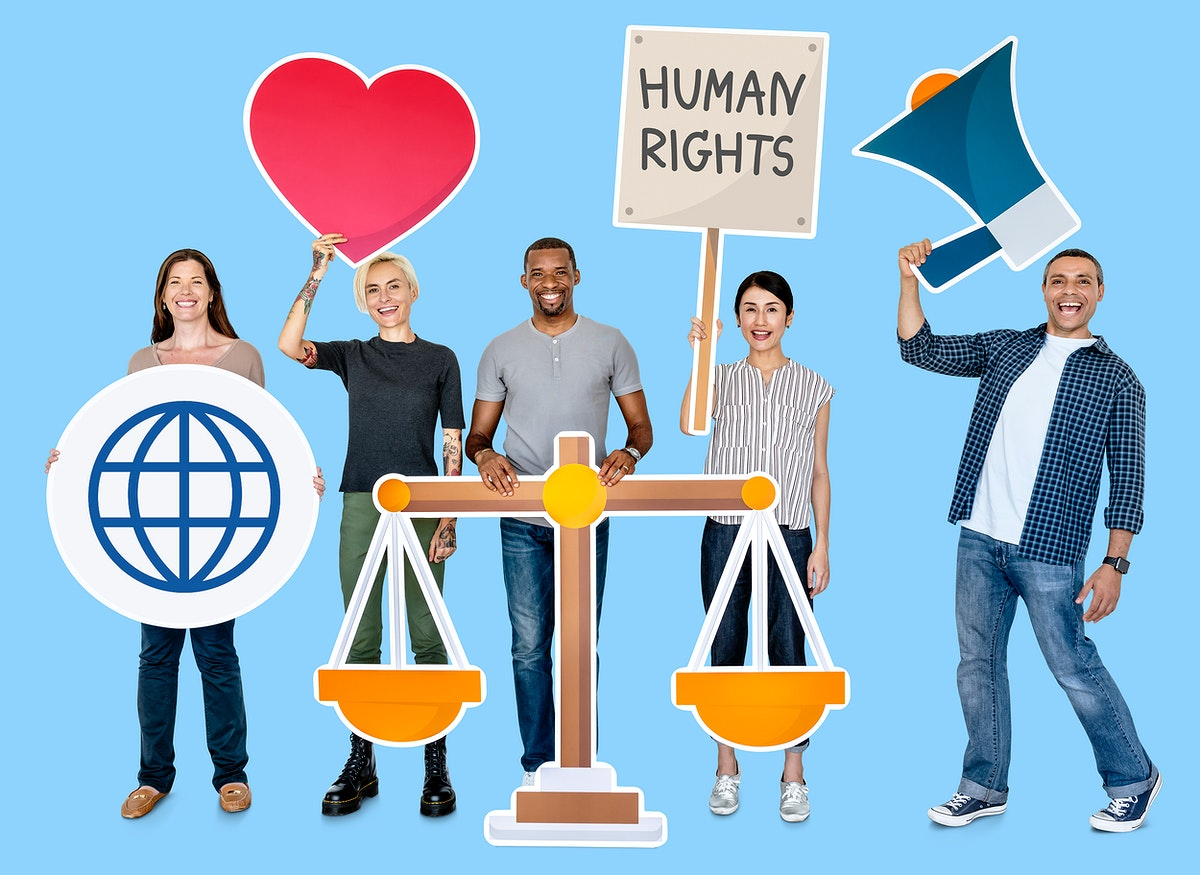 Diverse people holding human rights symbols