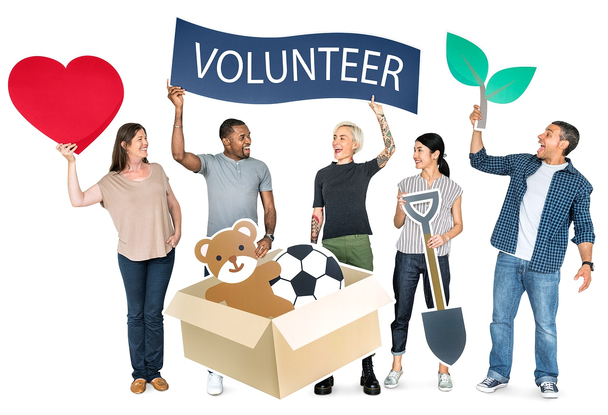 Happy diverse people holding volunteer banner