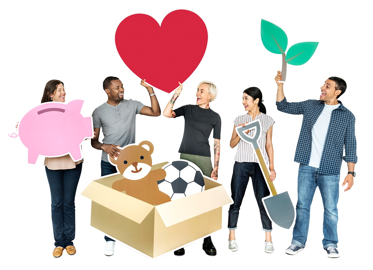 Happy diverse people holding charity symbols