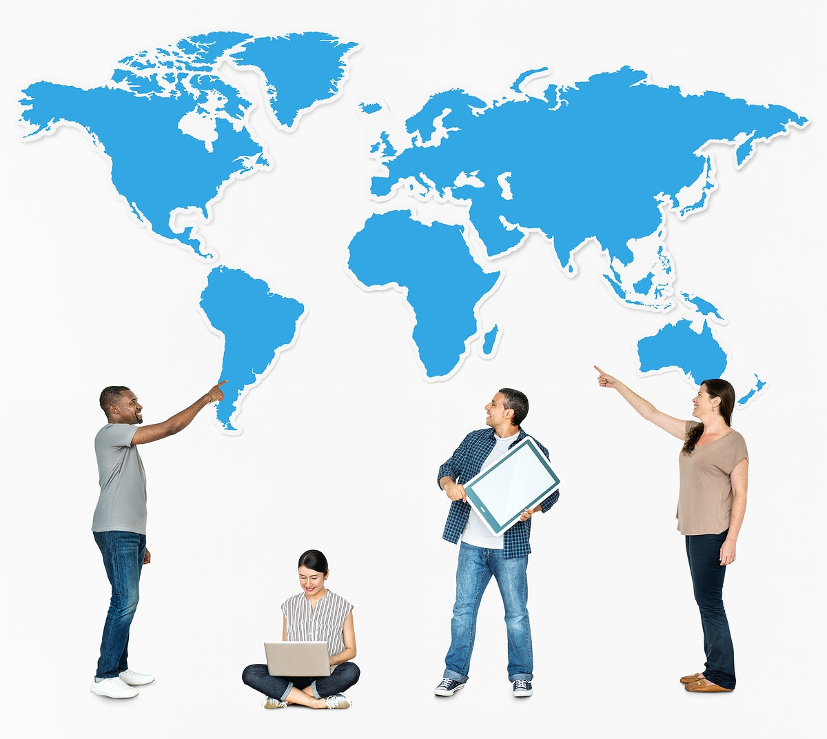 Diverse people pointing at a map