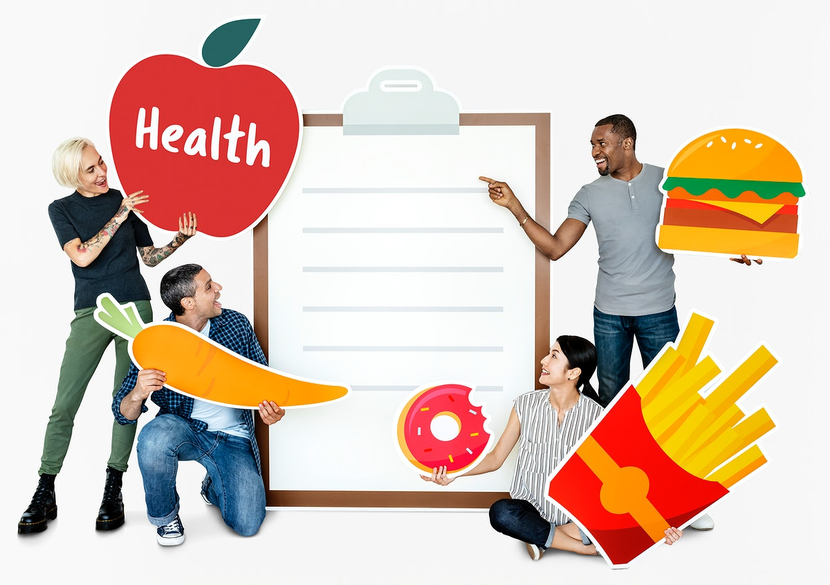 Group of diverse people with healthy food icons