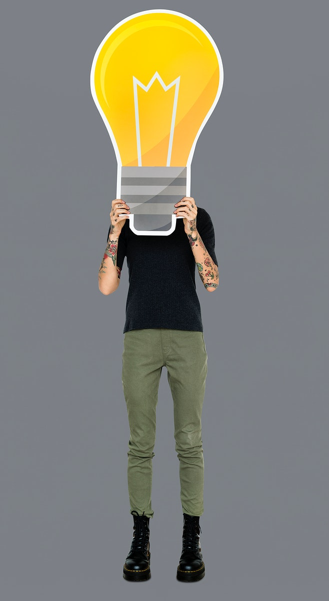 Woman holding a light bulb icon