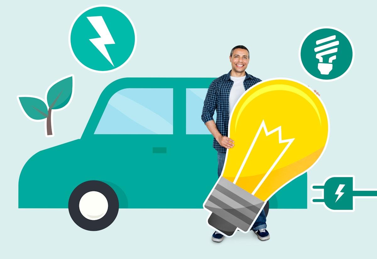 Happy man holding an energy saving icon