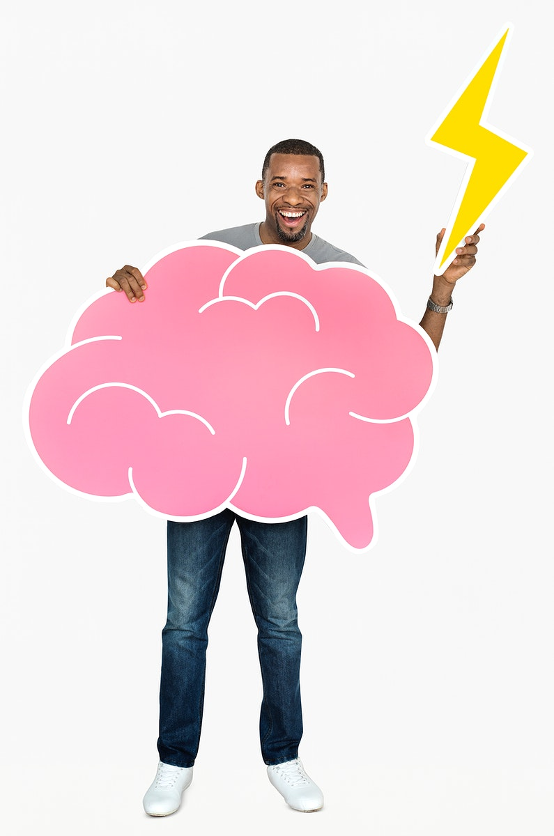 Happy man holding a brain icon and a lightning bolt