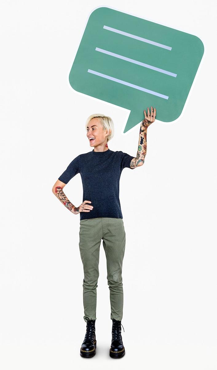 Happy woman holding a speech bubble icon
