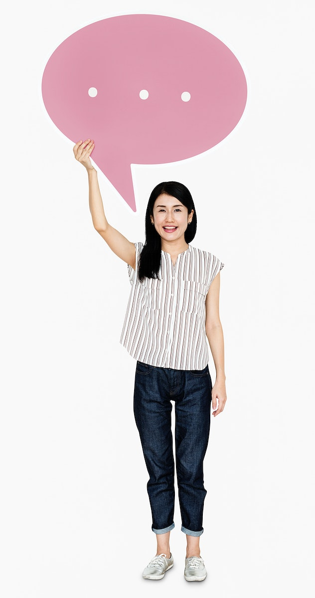 Happy Japanese woman with a speech bubble