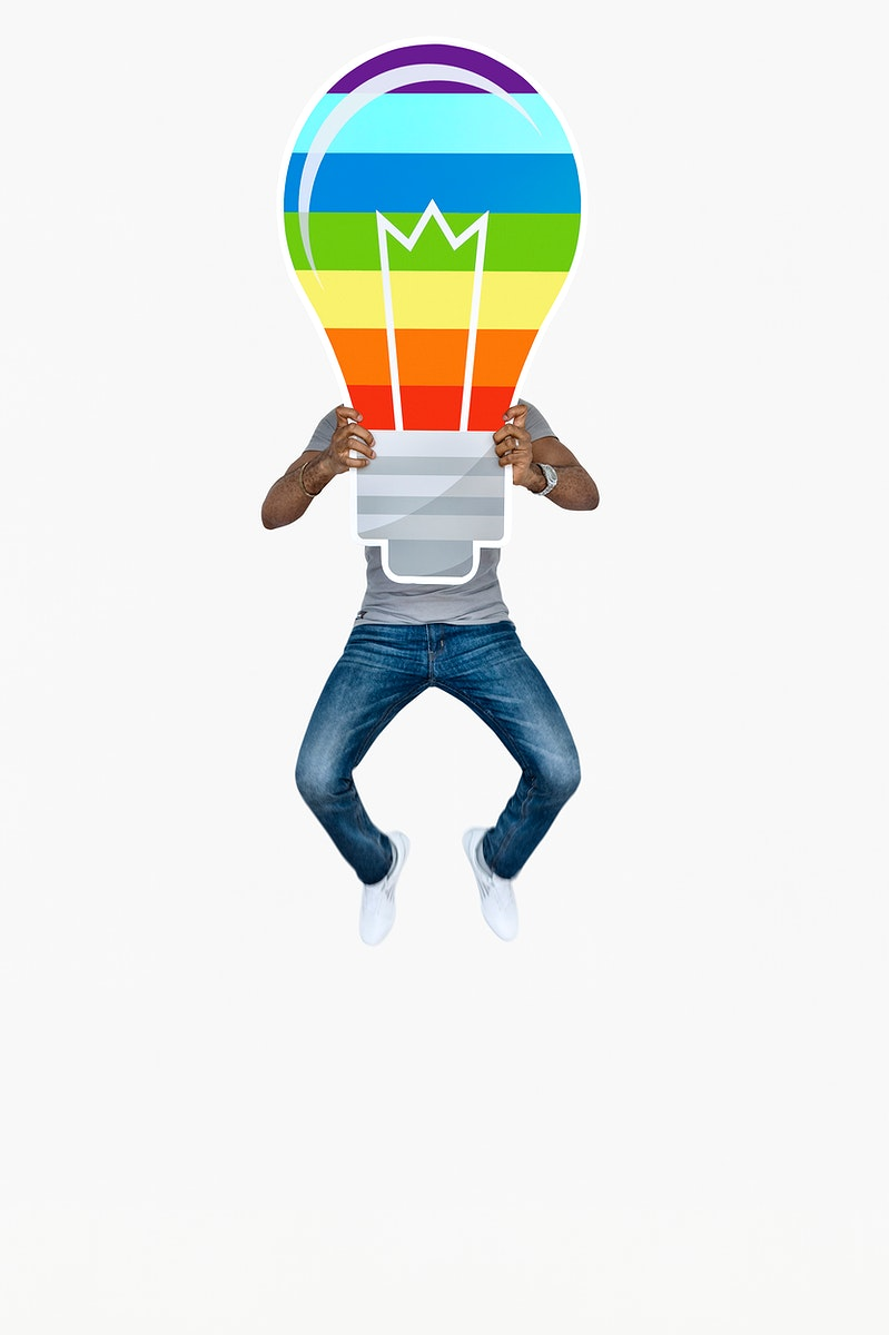 Man holding a colorful light bulb icon