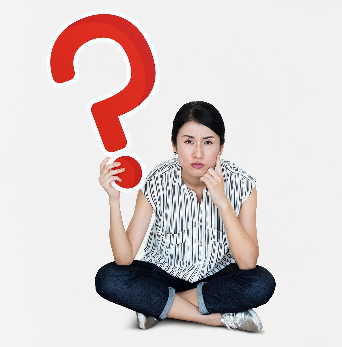 Confused woman holding a question mark icon